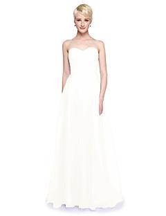 baratos Vestidos Conversíveis-Linha A Decote V Longo Tule Vestido de Madrinha com Fru-Fru Drapeado Lateral de LAN TING BRIDE®