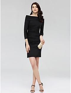 billiga Den lilla svarta-Åtsmitande Off shoulder Kort / mini Jersey Den lilla svarta Cocktailfest Klänning med Veckad av TS Couture®