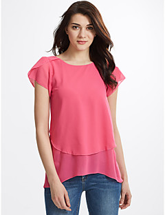 Women's Going out Plus Size Casual Street chic Summer Blouse,Solid Round Neck Short Sleeves Polyester Thin