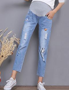 baratos Peças Inferiores-Mulheres Moda de Rua Gravidez Cintura Alta Algodão Solto Chinos Calças - Sólido Bordado