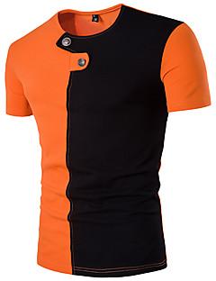 billige Herremote og klær-Bomull Tynn Rund hals T-skjorte Herre - Fargeblokk, Moderne Stil Sport
