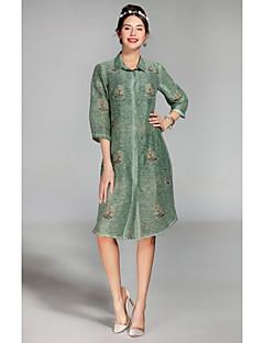 Kadın Günlük/Sade Gömlek Elbise Desen,¾ Kol Uzunluğu Gömlek Yaka Midi Suni İpek Bahar Yaz Normal Bel Esnemez İnce