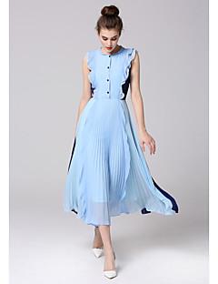 Χαμηλού Κόστους ZIYI-Γυναικεία Σιφόν Swing Φόρεμα - Μονόχρωμο, Πλισέ