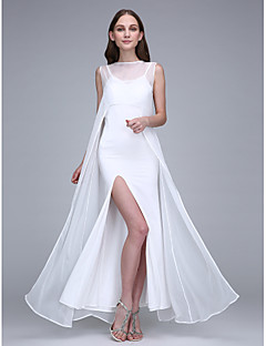 Sheath   Column Bateau Neck Ankle Length Chiffon   Jersey Bridesmaid Dress  with Split Front by LAN TING BRIDE®   Open Back 186937e26eb0