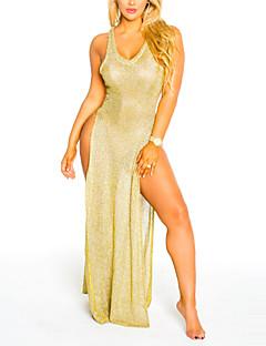 Kadın Kumsal Tatil Seksi Sade Bandaj Elbise Solid,Kolsuz V Yaka Maksi Polyester Bahar Yaz Yüksek Bel Mikro-Esnek Orta