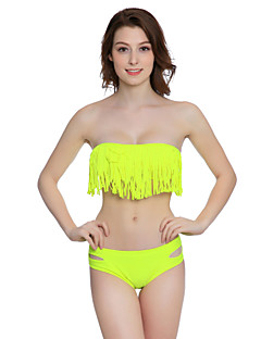 billige Bikinier og damemote 2017-Dame Ensfarget Bikini Badetøy Solid Dusker Bandeau Gul