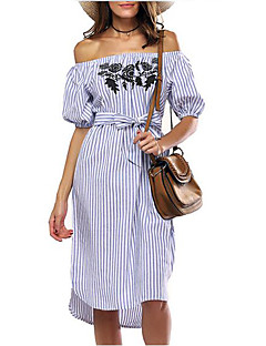 cheap Laura-Women's Holiday / Going out Street chic Sheath Dress - Striped / Embroidered High Rise Asymmetrical Boat Neck / Summer / Embroidery / Fine Stripe