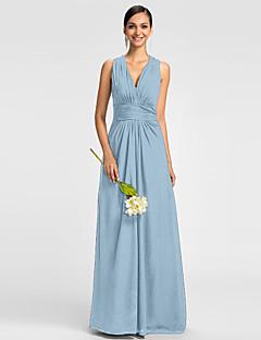 Χαμηλού Κόστους Δοκιμάστε το στο σπίτι-Δείγμα προϊόντος Γραμμή Α Λαιμόκοψη V Μακρύ Σιφόν Φόρεμα Παρανύμφων με Πιασίματα Πλαϊνό ντραπέ με LAN TING BRIDE®