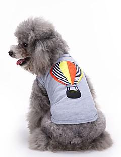 billiga Hundkläder-Katt Hund T-shirt Väst Hundkläder Broderi Grå Cotton Kostym För husdjur Herr Dam Gulligt Ledigt/vardag Mode