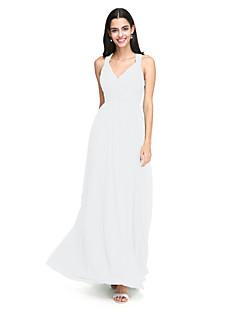 tanie Zielony szyk-Krój A Pasy Sięgająca podłoża Szyfon Sukienka dla druhny z Marszczenia Krzyżowe przez LAN TING BRIDE®
