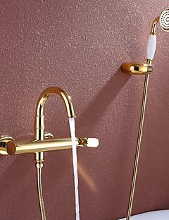 billige Sidesray-Badekarskran - Art Deco / Retro Ti-PVD Badekar Og Dusj Keramisk Ventil / Enkelt håndtak tre hull