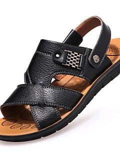 hesapli -Erkek Ayakkabı Tüylü Bahar / Yaz Rahat / Hafif Tabanlar Sandaletler Yürüyüş Günlük / Dış mekan / Ofis ve Kariyer için Perçin / Toka Siyah