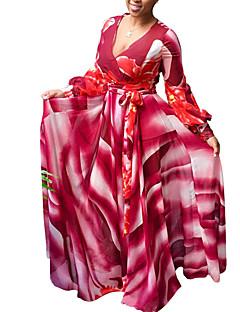 Χαμηλού Κόστους Μακριά Φορέματα-Γυναικεία Πάρτι / Εξόδου / Κλαμπ Κομψό στυλ street Θήκη / Swing Φόρεμα - Συνδυασμός Χρωμάτων, Στάμπα Μακρύ Βαθύ V Κόκκινο