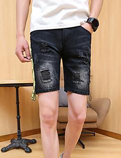 Herre Stretch Jeans Shorts Bukser,Tynn Mellomhøyt liv Bokstaver Fargeblokk