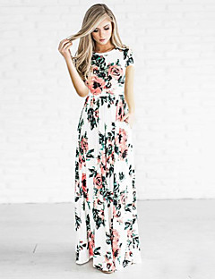 Women's Floral Patterns Going out Casual/Daily Holiday Sexy Simple Street chic Sheath Dress,Print Neck Asymmetrical ½ Length Sleeve Polyester Summer
