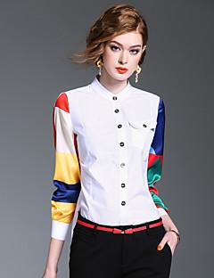 Majica Ženske,Slatko Izlasci Ležerno/za svaki dan Color block-Dugih rukava Ruska kragna-Proljeće Ljeto Srednje Pamuk Poliester
