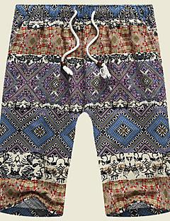 Herre Uelastisk Shorts Bukser,Rett Mellomhøyt liv Trykt mønster