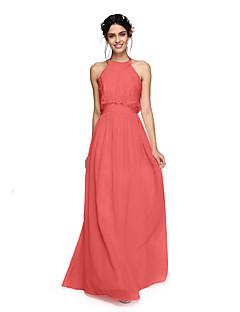billige Romantisk rosa-A-linje Grime Gulvlang Chiffon Brudepikekjole med Bølgemønster Kryssdrapering av LAN TING BRIDE®