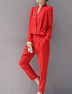 billige Jumpsuits og sparkebukser til damer-Dame Bomull Kjeledresser - Ensfarget V-hals