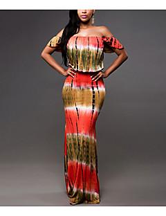 Χαμηλού Κόστους Μακριά φορέματα-Γυναικείο Καθημερινά Εφαρμοστό Φόρεμα,Στάμπα Κοντομάνικο Ώμοι Έξω Μακρύ Άλλα Όλες τις Εποχές Κανονική Μέση Μικροελαστικό Μεσαίου Πάχους