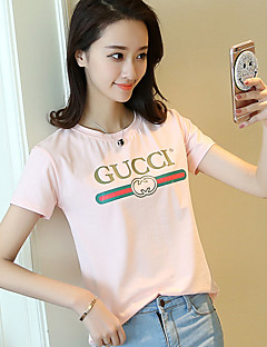 Women's Casual/Daily Simple T-shirt,Solid Letter Round Neck Short Sleeve Cotton