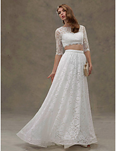 billiga A-linjeformade brudklänningar-A-linje / Tvådelad Bateau Neck Svepsläp Spets / Sammetschiffong Bröllopsklänningar tillverkade med Spets av LAN TING BRIDE® / Illusion / Genomskinliga