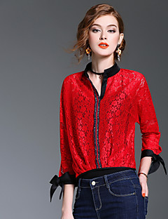 Majica Ženske,Slatko Izlasci Ležerno/za svaki dan Jednobojni Color block-Dugih rukava V izrez-Proljeće Ljeto Srednje Poliester