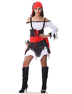 Pirat Cosplay Kostumer Kvinnelig Festival/høytid Halloween-kostymer Rød/Svart Halloween Karneval Mote
