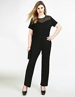 Cute Ann Women's High Rise Work Party Casual/Daily Jumpsuits,Sexy Vintage Simple Straight Slim Mesh Solid All Seasons Spring Summer