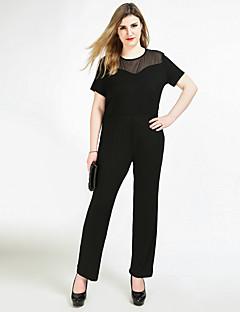 billige Jumpsuits og sparkebukser til damer-Dame Store størrelser Fest / Daglig / Arbeid Vintage Svart Kjeledresser, Ensfarget Netting XXXXL XXXXXL XXXXXXL Kortermet
