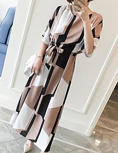 Kadın Çalışma Büyük Beden Günlük/Sade Vintage Sade Sevimli Kombinezon Elbise Geometrik,Kısa Kollu Yuvarlak Yaka Maksi Diz-boyu Diğer Yaz