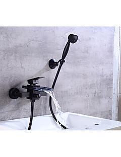 billige Foss-Moderne Badekar Og Dusj Foss Keramisk Ventil Enkelt håndtak To Huller Olje-gnidd Bronse, Badekarskran