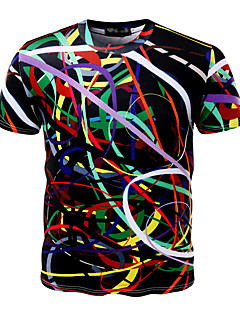 Men's Daily Sports Going out Casual Active Summer T-shirt,Print Round Neck Short Sleeves Cotton Medium