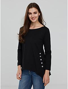 Χαμηλού Κόστους The Must Have Styles-Γυναικείο T-shirt Εξόδου Καθημερινά Απλό Μπόχο Κομψό στυλ street Μονόχρωμο,¾ Μανίκι Στρογγυλή Λαιμόκοψη Άνοιξη Φθινόπωρο Μεσαίου Πάχους