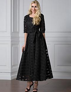 Damen Lose Kleid Anspruchsvoll Solide Rundhalsausschnitt Maxi ½ Länge Ärmel Polyester Organza Sommer Hohe Hüfthöhe Mikro-elastisch Mittel