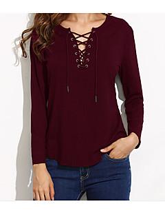 Damen Solide Einfach Lässig/Alltäglich Hemd,V-Ausschnitt Langarm Baumwolle