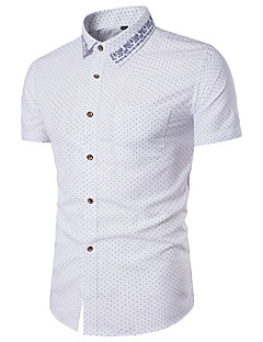 Men's Casual/Daily Simple Summer Shirt,Geometric Classic Collar Short Sleeves Polyester