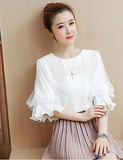 Women's Casual/Daily Simple Summer Blouse,Solid Round Neck Short Sleeve Cotton Thin