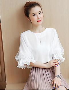 여성 솔리드 라운드 넥 짧은 소매 블라우스,심플 캐쥬얼/데일리 면 여름 얇음
