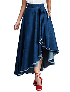Women's High Rise Going out Casual/Daily Denim All Match Slim Asymmetrical SkirtsSimple Street chic Swing Solid Spring Summer