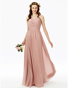 cheap Romance Blush-A-Line V Neck Floor Length Chiffon Bridesmaid Dress with Lace Pleats Criss Cross Side Draping by LAN TING BRIDE®