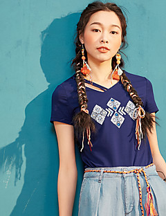 Χαμηλού Κόστους I BELIEVE YOU-Γυναικεία T-shirt Απλός Βίντατζ Μονόχρωμο Κεντήματα Λαιμόκοψη V