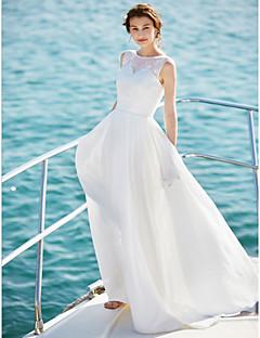 billiga A-linjeformade brudklänningar-A-linje Scoop Neck Golvlång Chiffong Bröllopsklänningar tillverkade med Spets av LAN TING BRIDE® / Öppen Rygg