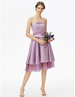 cheap Short Bridesmaid Dresses-A-Line Strapless Knee Length Chiffon Satin Bridesmaid Dress with Bow(s) Sash / Ribbon Tiered by LAN TING BRIDE®