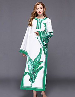 Χαμηλού Κόστους Καφτάνι-Γυναικεία Κινεζικό στυλ Βαμβάκι Καφτάνι Φόρεμα - Δένδρα / φύλλα, Σκίσιμο / Στάμπα Μακρύ