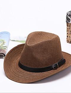 billige Trendy hatter-Herre Vintage Ferie Utendørs Stråhatt Ensfarget