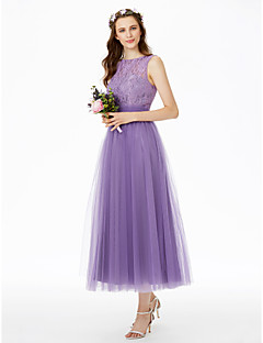 cheap Purple Passion-Princess Bateau Neck Tea Length Lace Tulle Bridesmaid Dress with Lace Sashes / Ribbons Pleats by LAN TING BRIDE®