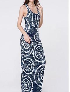 זול שמלות נשים-כתפיה מקסי נמר - שמלה נדן כותנה בגדי ריקוד נשים
