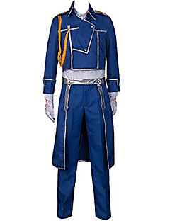 """Inspirert av Helmetall Alkemist Roy Mustang Anime  """"Cosplay-kostymer"""" Cosplay Klær Ensfarget Frakk Bukser Halstørklæ Til Mann"""