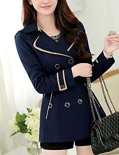 Women's Daily Modern/Comtemporary Spring Coat,Solid Shirt Collar Long Sleeve Long Polyester Others